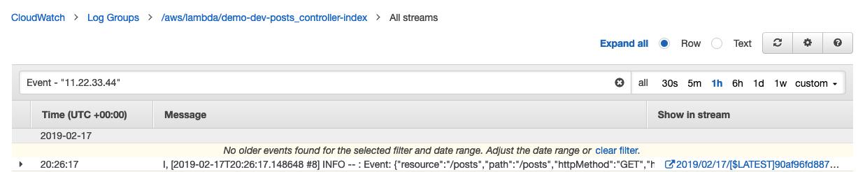 CloudWatch Logs Search - Jets Ruby Serverless Framework