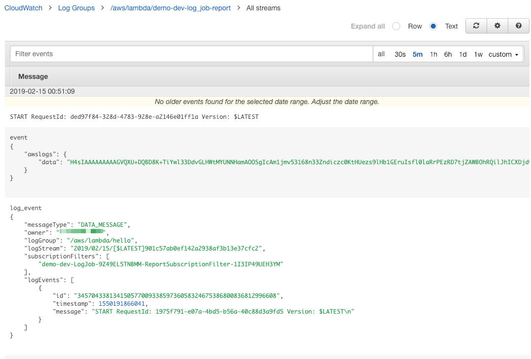 CloudWatch Log Events - Jets Ruby Serverless Framework