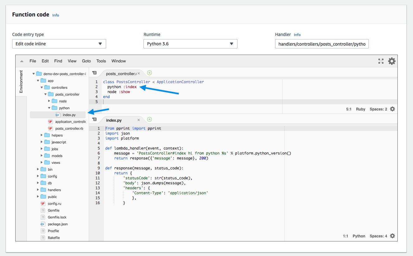 Polymorphic Python - Jets Ruby Serverless Framework